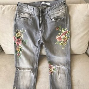 Zara Painted Gray Jeans